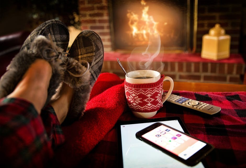 slippers coffee fireplace relaxing